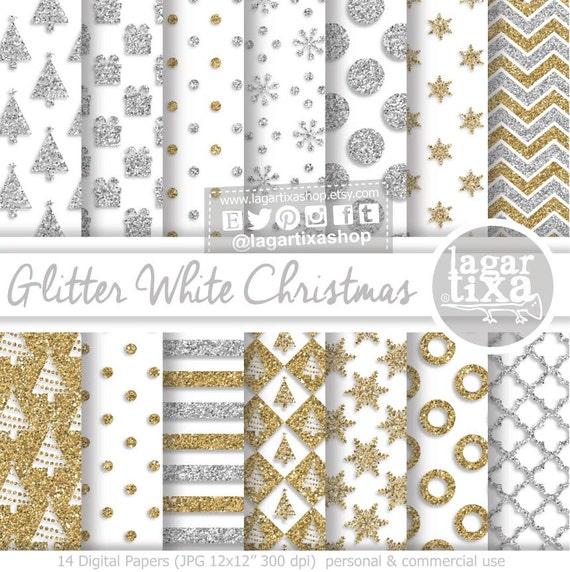 Gold & Silver Glitter White Christmas Digital Paper Patterns