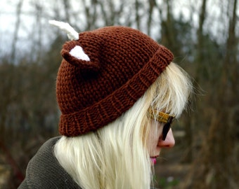 fawn DEER with ANTLERS horn hat beanie mori forest BROWN dark chocolate ears wool hand made