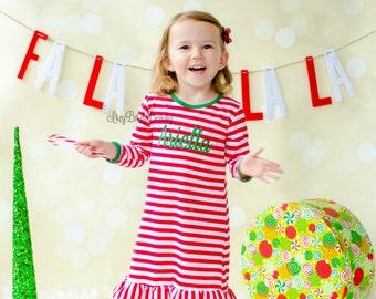 Girls Christmas Nightgown - Night Gown Ruffle Dress - Christmas Pajamas -  Red And White Stripe - Embroidered Dress - Christmas Dress