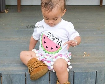 Pink and green watermelon heart summer shirt personalized custom name