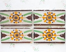 Antique Tiles - Set of 4 - Green and Yellow rectangular Tiles - Decorative Ceramic border
