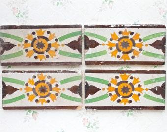 Antique Tiles - Set of 4 - Green and Yellow rectangular Tiles - Decorative Ceramic border
