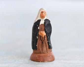 Tiny Nun - Vintage Miniature Plaster Figure - Folk Art