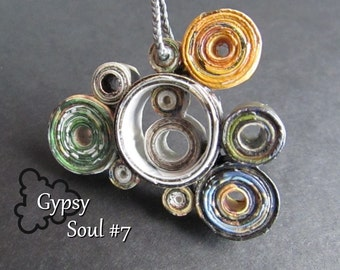 "Wearable Art Necklace, Yellow, Blue, and Green Circles, Paper Pendant for 1st Year Wedding Anniversary (Paper Anniversary) ""Gypsy Soul #7"""