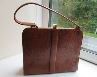 Vintage 1950's Tan Leather Kelly Style Handbag MADE IN ENGLAND - Lovely!!