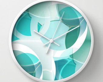 Modern Wall Decor Wall Clock Abstract Turquoise Teal Print  Contemporary Home Decor Abstract Art