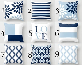 Throw Pillow Covers Light Blue White Navy Blue Pillow Typography Art Contemporary Decor Throw Pillow Covers Decorative Pillows