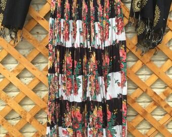 Gypsy Floral Flowy Maxi Skirt