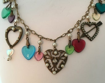 Hearts Pearls Glass Works Studio Enamel Rhinestones Necklace Dangles Lovely Couture Authentic