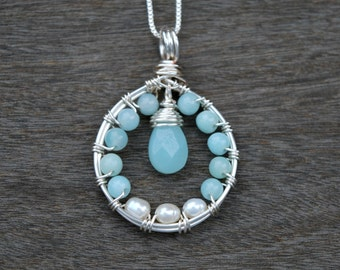 "Amazonite + Pearl ""Blossom"" Wire Wrapped Pendant (Free shipping in Canada!)"