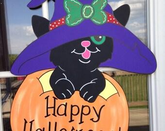 halloween cat door hanger, pumpkin door hanger, halloween door hanger, halloween wreath, ghost door hanger