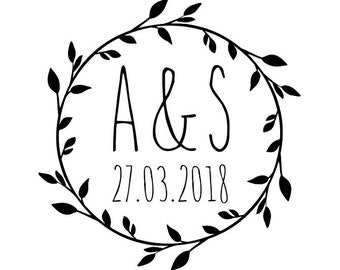 "Round Laurel Wedding Stamp, personalised initials and date stamp, wedding card and favours stamp, DIY bride stationery, 1.8""x1.8"" (cts151)"
