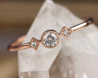 Rose gold engagement ring, 14k solid rose gold, .15ctw diamond stacking ring, vintage inspired ring, yellow rose white gold, sta-r103
