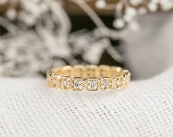 Unique Diamond Eternity Wedding band, vintage inspired eternity ring, 14k 18k yellow gold, rose gold, white gold, platinum, bri-mil-r204
