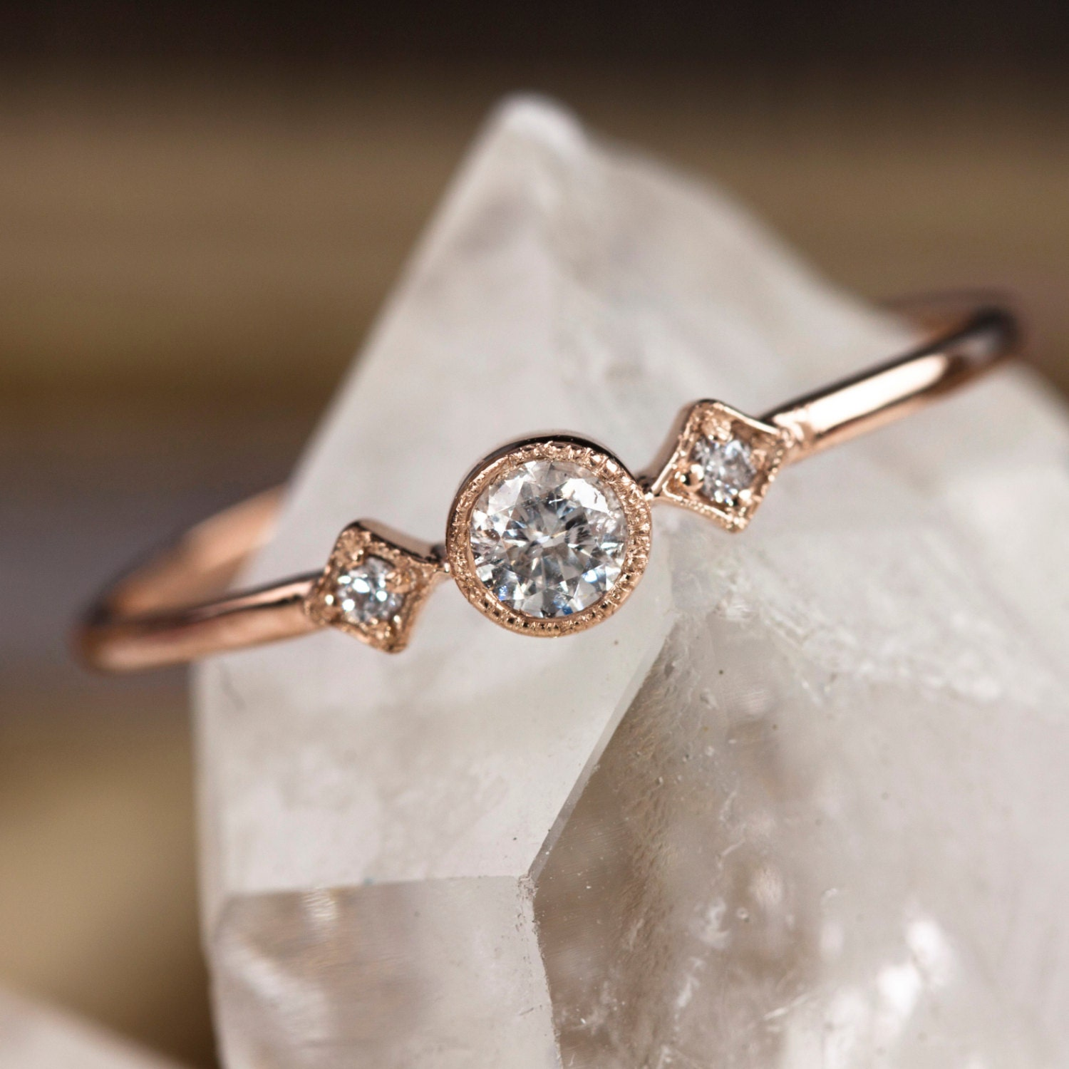 Rose gold engagement ring 14k solid rose gold 15ctw diamond