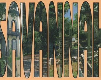 Postcard of Savannah, Georgia, c1980s, fair shape