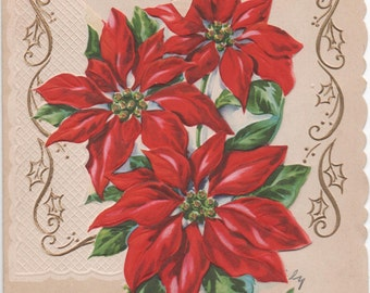 Beautiful 1950s Poinsettia Christmas Card, Christmas Wishes For You, good shape