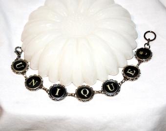 Typewriter Key Bracelet – Vintage Style Literary Jewelry, Spells Unique - Art Deco, Steampunk Jewelry.  Unisex Gift.