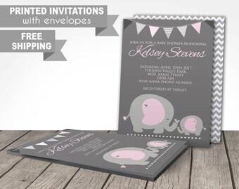 elephant baby shower invitations PRINTED, invitations, baby girl, shower, printed or digital file, pink, grey, customized, free shipping,