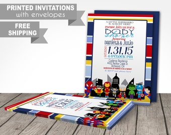 Avengers baby shower PRINTED invitations, super hero, superhero, baby superhero, avengers, princess, onesies, infant, free shipping,