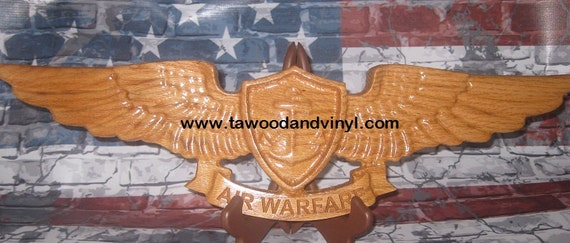 US Navy Gifts, Navy, Warfare Specialist, Navy Chief, Wood wings, aviation wings wood, aviation gifts, avation art, air warfare wings,