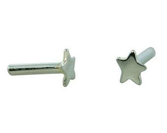 Silver Plated Brass Rivet Star (Pkg of 10pcs)  (CCSP1202)