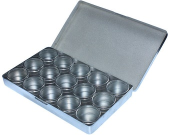 Metal Storage Box with 15 Glass Top Jars  (BX1015)