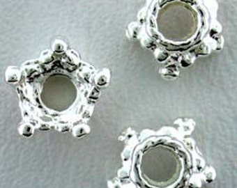 Sterling Silver Star Bead Cap (Pkg of 10)  (5020S-52)