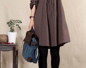 Loose big yards dress long-sleeved cotton and linen dress shirt -Women Clothing