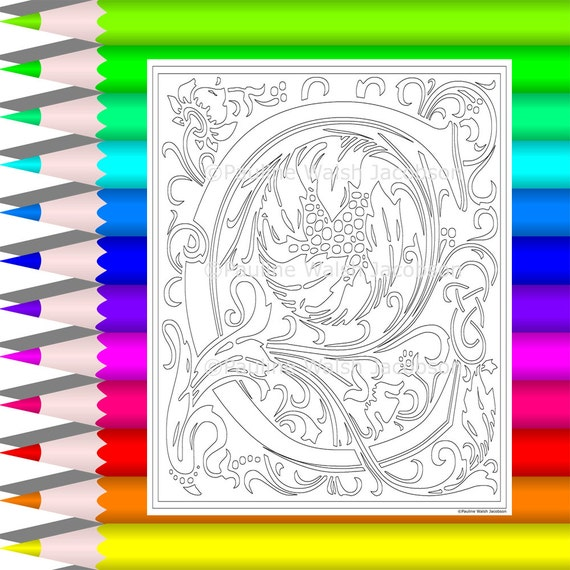 Decorative Alphabet Coloring Pages : Adult coloring letters c decorative vintage style alphabet