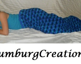Mermaid Tail Blanket Cocoon Hand Crochet for Boy/Girl Toddler Child Preteen Teen Adult (Breathtaking Ocean Blue Blast) Fast Turn Around