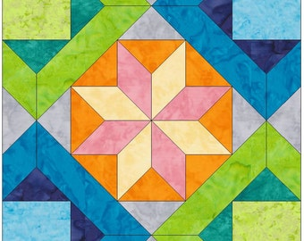 Lena's Choice Star Paper Piece Template Quilting Block Pattern PDF