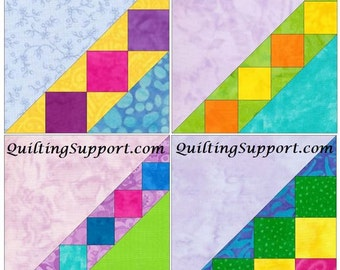 Ladder Set of 4 Paper Piece Template Quilting Block Patterns Set 1 PDF
