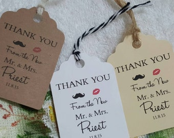 Personalized Favor Tags 2 1/2'', Wedding tags, Thank You tags, Favor tags, Gift tags, mustache, lips tags