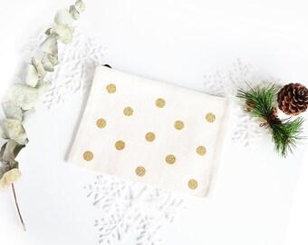 Golden dots pouch - zipper pouch