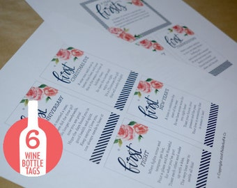 A Year of Firsts - Wine Basket Tags INSTANT DOWNLOAD (for 6 bottle basket)