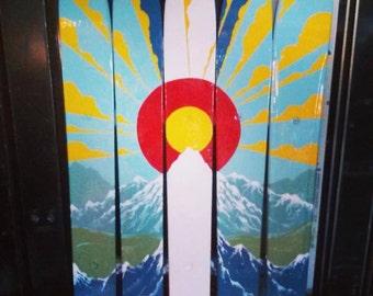 Mountain Mural- Ski Canvas- Wall Flag