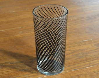Vintage Black Swirl Design Drinking Glass Tumbler High Ball Glass