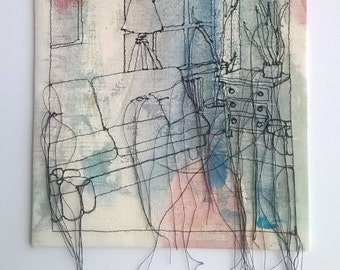 Interior Thread Drawing Sketch or Thread dance
