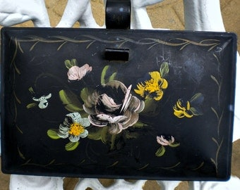 Antique Toleware Silent Butler, Hand Painted Flowers, Italian Tole, French