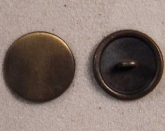 """Set of 6 JHB Intl Antiqued Brass Round Plain Metal Buttons 13/16"""" or 20 mm lyk0053"""