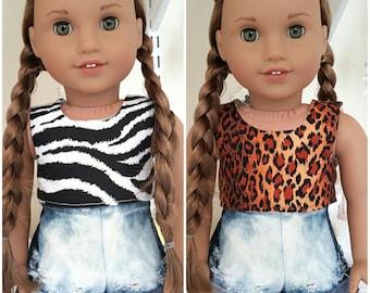 18 inch doll Leopard, zebra print crop tops