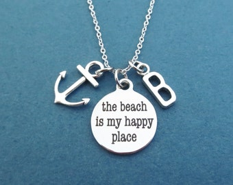 Personalized, Letter, Initial, the beach is my happy place, Nautical, Anchor, Silver, Necklace, Friends, Lovers, Gift, Jewelry