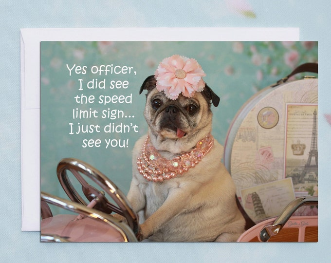 Funny Friendship Cards - Yes Officer - Funny Cards for Friends by Pugs and Kisses