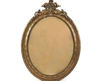 "Large 26"" Antique Gesso Wood Frame with Scroll Design and Oval Glass, 26"" by 19"" Ornate Vintage Gold Gilt Picture Frame #DBL#"