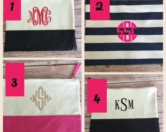 Monogrammed Zipper pouch / Clutch