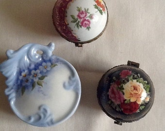 Three Vintage Small Floral Porcelain Trinket  Boxes.