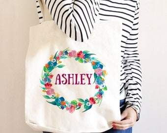 Bridesmaid Tote - Bridesmaid Gift Personalized Floral Wreath Canvas Tote Bag