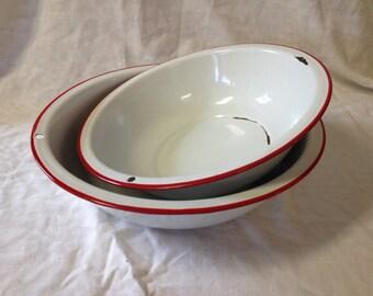 Set of 2 White Vintage Enamel Bowls/ Retro Kitchen Decor