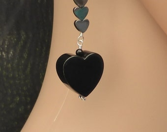 Qnyx and Haematite Heart Earrings